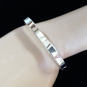 Vintage MONET Silvertone Hinged Bangle Bracelet